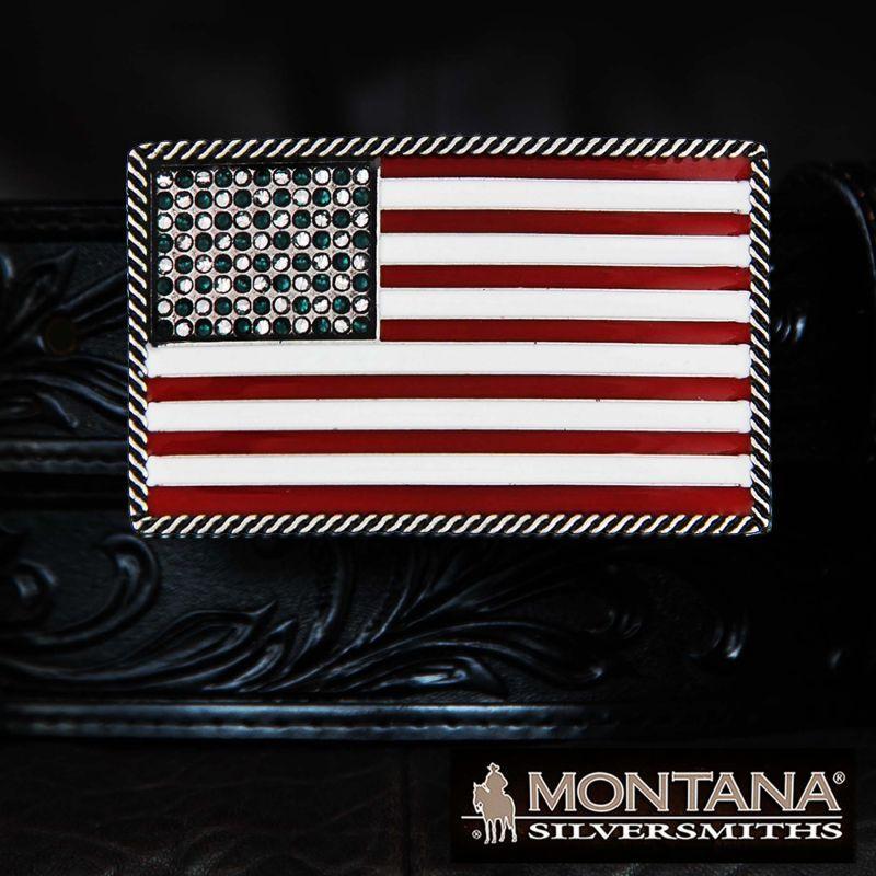 画像1: モンタナシルバースミス ベルト バックル アメリカンフラッグ/Montana Silversmiths Belt Buckle