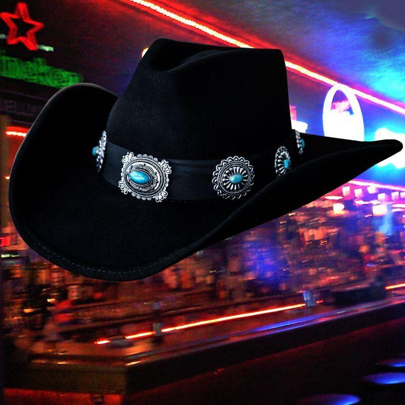 画像3: シルバー&ターコイズコンチョ カウボーイ ハット(ブラック)/Western Felt Hat(Black)