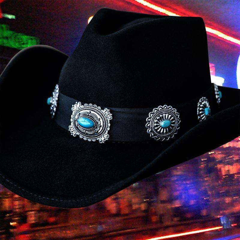 画像1: シルバー&ターコイズコンチョ カウボーイ ハット(ブラック)/Western Felt Hat(Black)