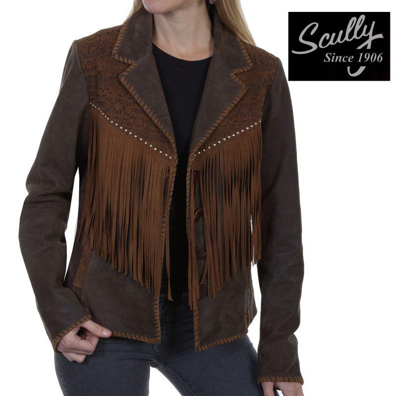 画像1: スカリー レディース ラムスエード フリンジ レザー ジャケット(ブラウン)/Scully Lamb Suede Leather Fringe Jacket(Women's)