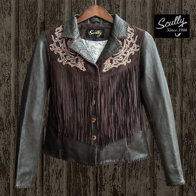 画像1: スカリー レディース フリンジ 刺繍 レザー ジャケット(ブラウン)/Scully Leather Fringe Jacket(Women's)