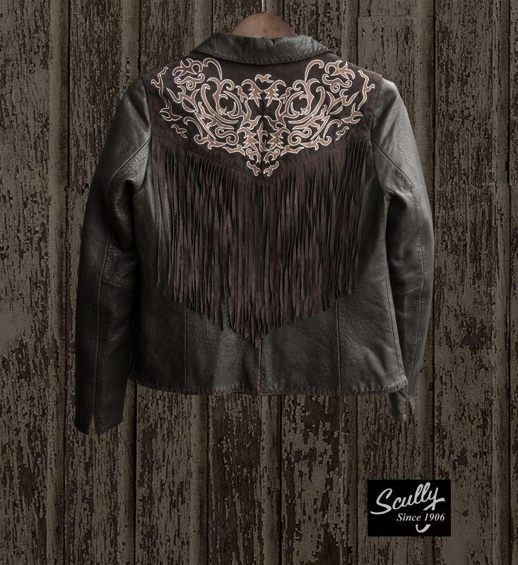 画像2: スカリー レディース フリンジ 刺繍 レザー ジャケット(ブラウン)/Scully Leather Fringe Jacket(Women's)