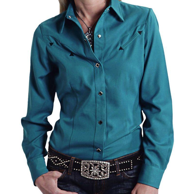 画像1: ローパー レディース ウエスタン シャツ ターコイズ(長袖)S/Roper Long Sleeve Western Shirt(Women's)