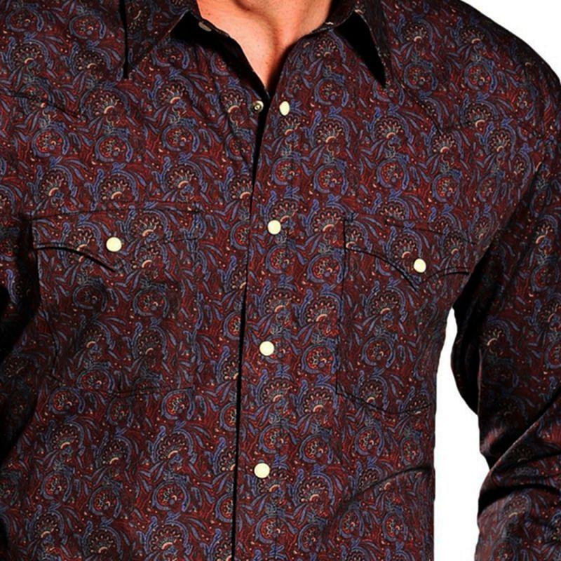 画像2: パンハンドルスリム ラフストック ウエスタン シャツ(バーガンディ・ブルー)M/Panhandle Slim Western Shirt