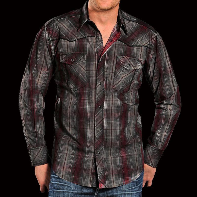 画像1: パンハンドルスリム ウエスタン シャツ(ダークレッド・グレー)M/Panhandle Slim Western Shirt
