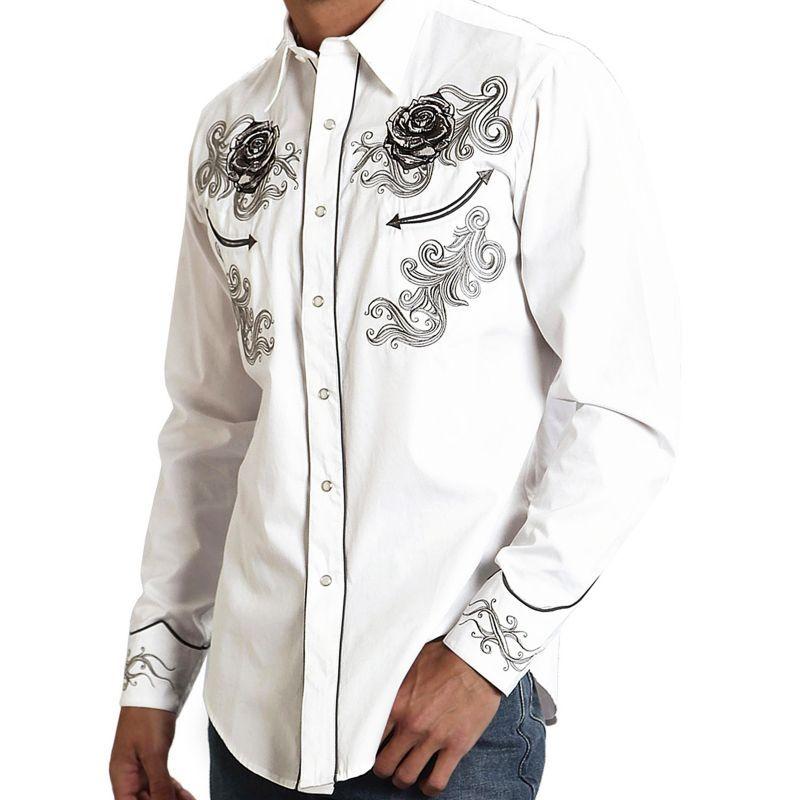 画像1: ローパー 刺繍 ウエスタン シャツ ホワイト ブラックローズ(長袖)S/Roper Long Sleeve Western Shirt