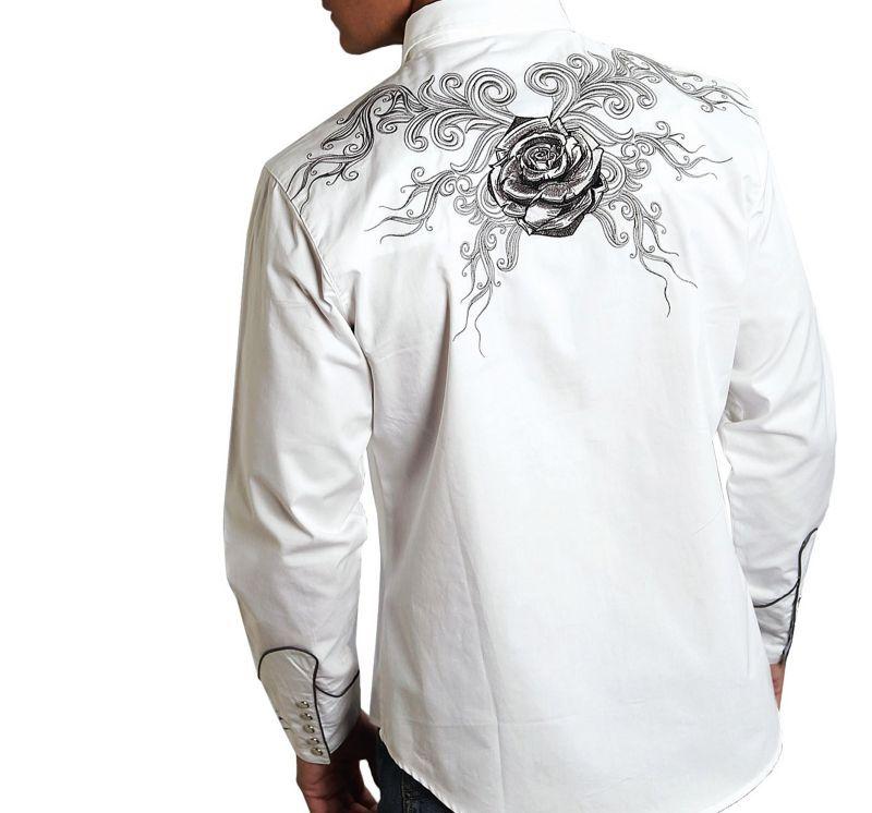 画像2: ローパー 刺繍 ウエスタン シャツ ホワイト ブラックローズ(長袖)S/Roper Long Sleeve Western Shirt