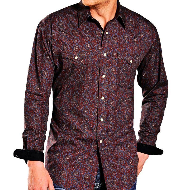 画像1: パンハンドルスリム ラフストック ウエスタン シャツ(バーガンディ・ブルー)M/Panhandle Slim Western Shirt