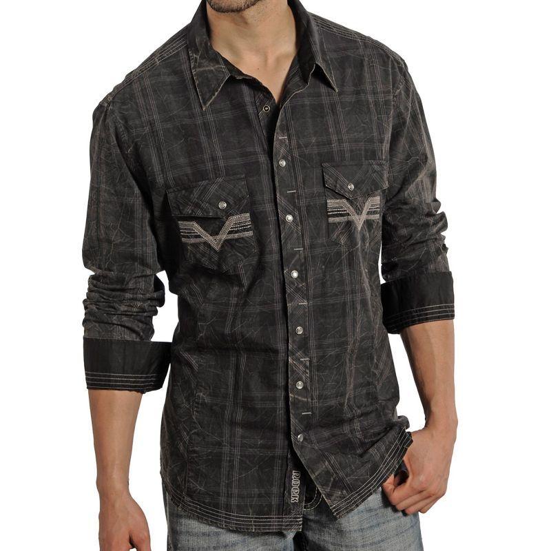 画像1: ロックンロールカウボーイ ウエスタンシャツ ブラック・ステッチ(長袖)/Panhandle Slim Long Sleeve Western Shirt
