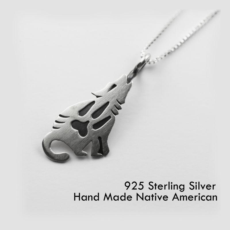 画像1: スターリングシルバー ネックレス ハウリングウルフ/Sterling Silver Necklace