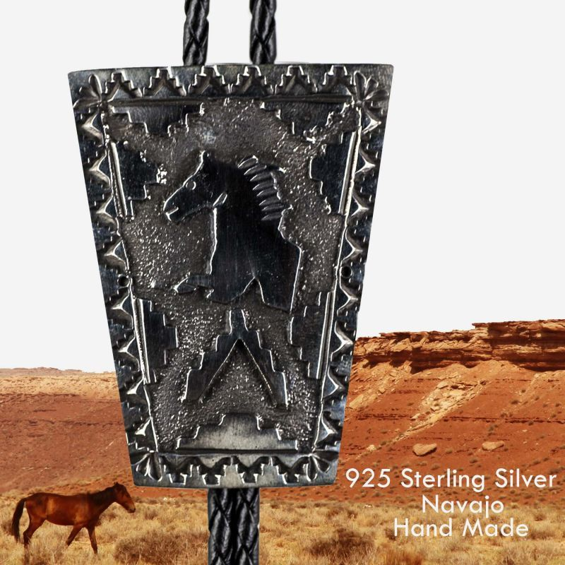 画像1: ネイティブアメリカン ナバホ族 ハンドメイド スターリングシルバー ボロタイ(ホース)/Navajo Sterling Silver Bolo Tie(Horse) (1)