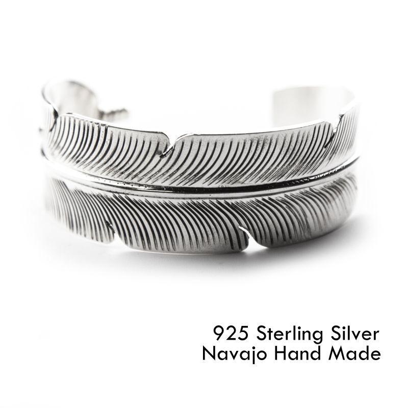 画像1: ナバホ スターリングシルバー ハンドメイド フェザー ブレスレット Darlene Begay/Navajo 925 Silver Bracelet