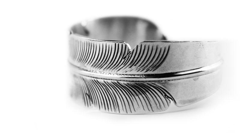画像3: ナバホ スターリングシルバー ハンドメイド フェザー ブレスレット Darlene Begay/Navajo 925 Silver Bracelet