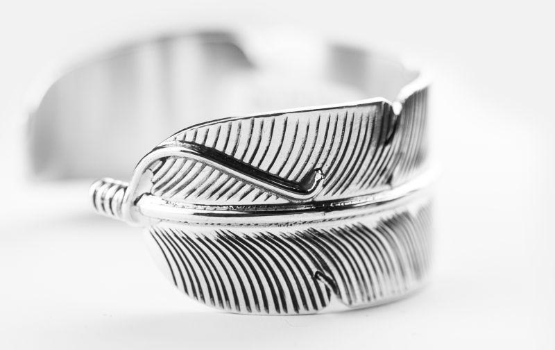 画像2: ナバホ スターリングシルバー ハンドメイド フェザー ブレスレット Darlene Begay/Navajo 925 Silver Bracelet