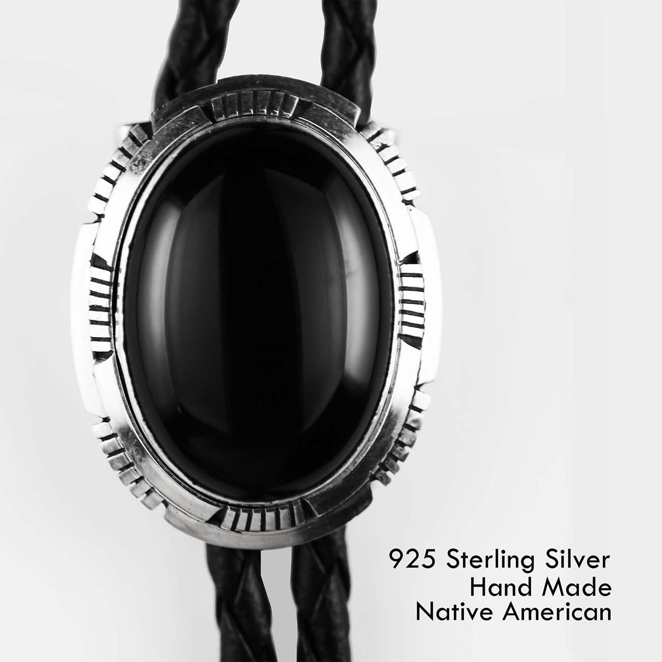 画像1: シルバー&オニキス ボロタイ ネイティブアメリカン ナバホ族 ハンドメイド/Navajo Sterling Silver Bolo Tie