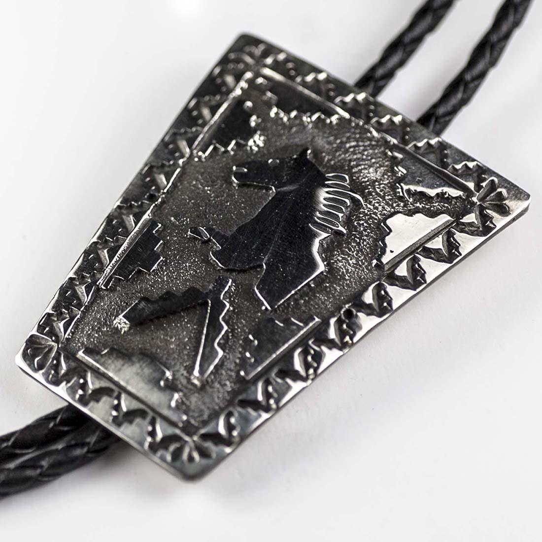 画像2: ネイティブアメリカン ナバホ族 ハンドメイド スターリングシルバー ボロタイ(ホース)/Navajo Sterling Silver Bolo Tie(Horse)