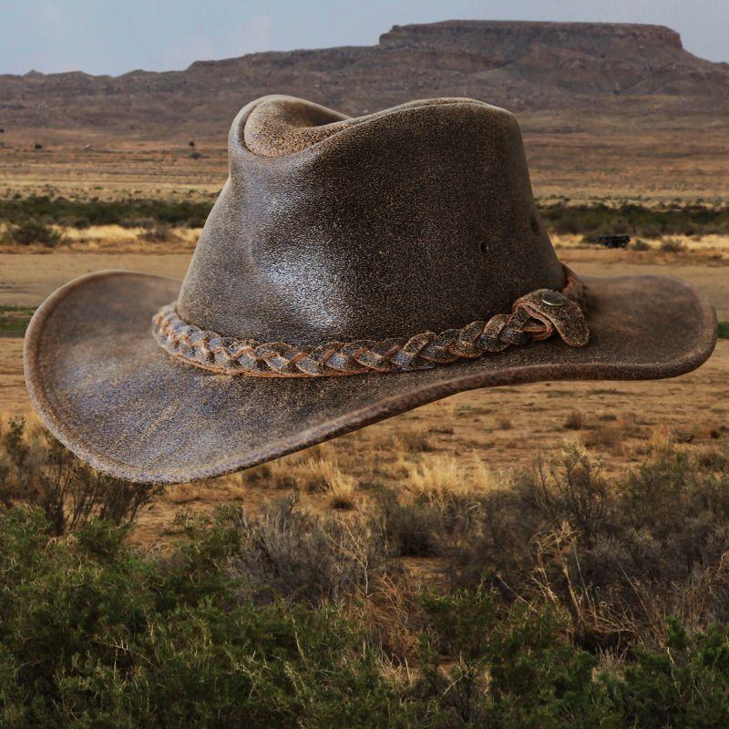 画像1: ヘンシェル ラスティック レザー ハット(ブラウン)/Henschel Leather Hat(Brown)