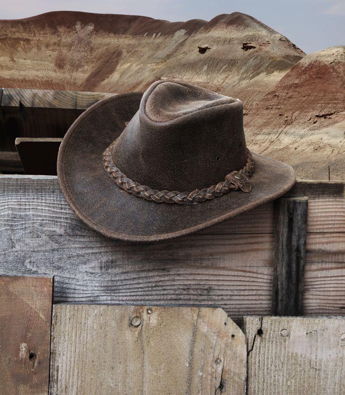 画像2: ヘンシェル ラスティック レザー ハット(ブラウン)/Henschel Leather Hat(Brown)
