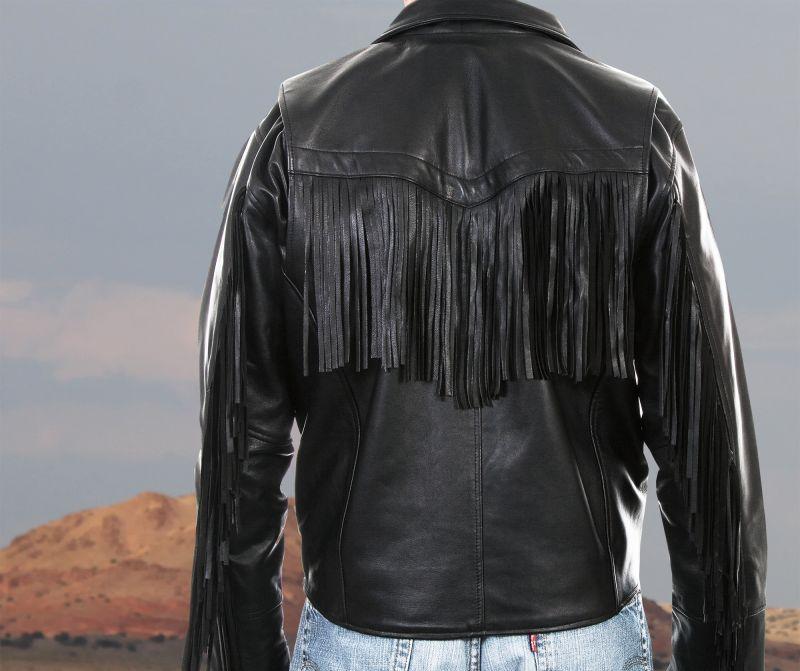 画像3: スカリー ラムレザー フリンジ モーターサイクル ジャケット(ブラック)/Scully Soft Touch Lamb Fringe Motorcycle Jacket(Black)