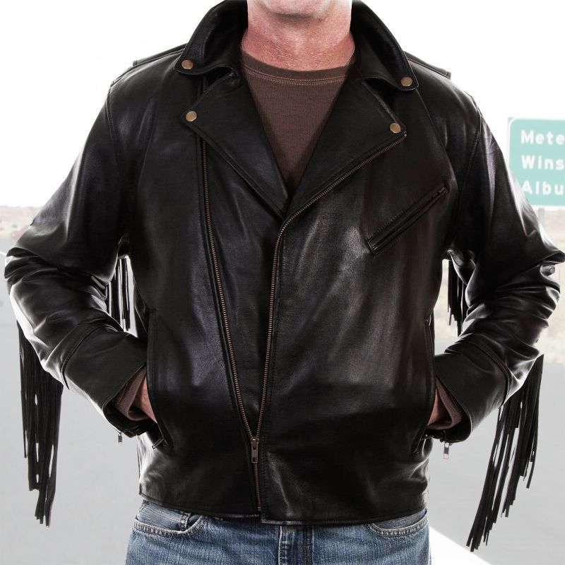 画像1: スカリー ラムレザー フリンジ モーターサイクル ジャケット(ブラック)/Scully Soft Touch Lamb Fringe Motorcycle Jacket(Black)