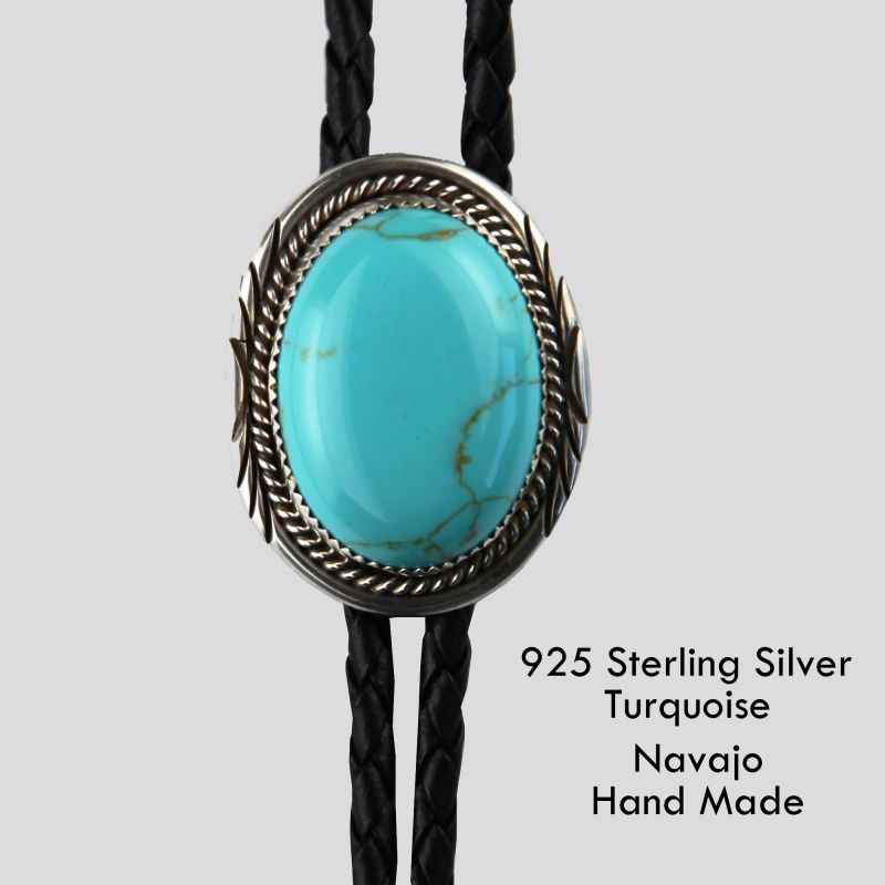 画像1: シルバー&ターコイズ ボロタイ ネイティブアメリカン ナバホ族 ハンドメイド/Navajo Sterling Silver&Turquoise Bolo Tie