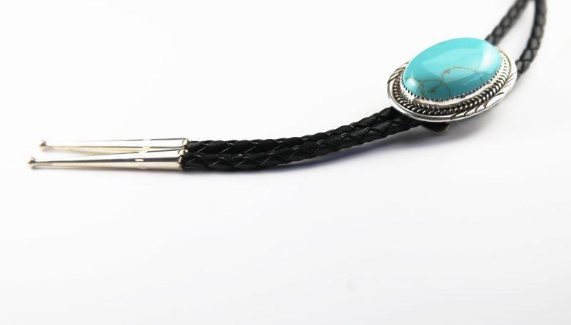 画像2: シルバー&ターコイズ ボロタイ ネイティブアメリカン ナバホ族 ハンドメイド/Navajo Sterling Silver&Turquoise Bolo Tie