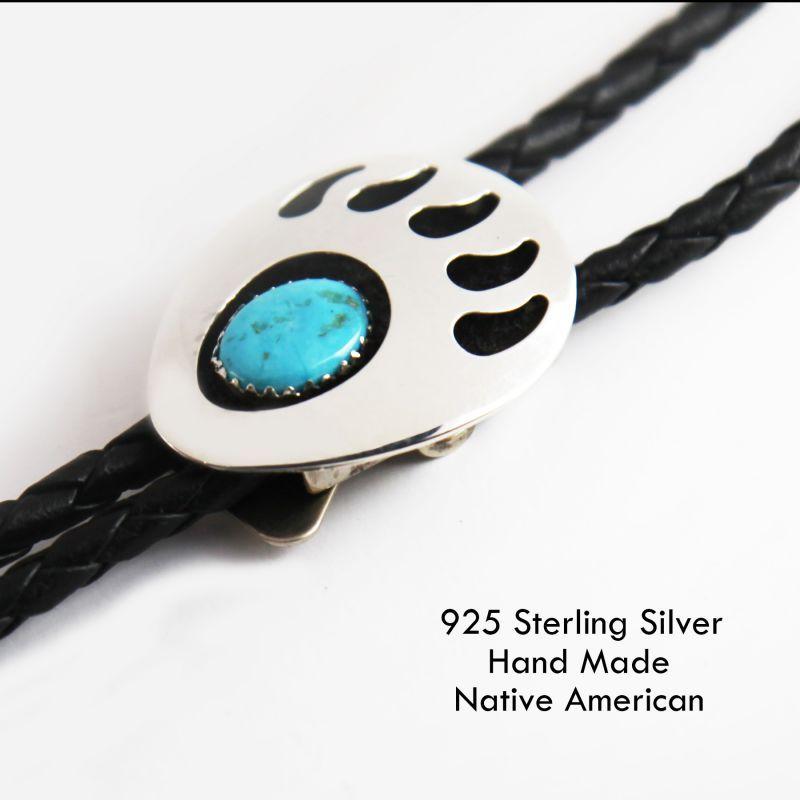画像1: シルバー&ターコイズ ボロタイ ネイティブアメリカン ナバホ族 ハンドメイド(ベアパウ)/Navajo Sterling Silver&Turquoise Bolo Tie(Bear Paw)