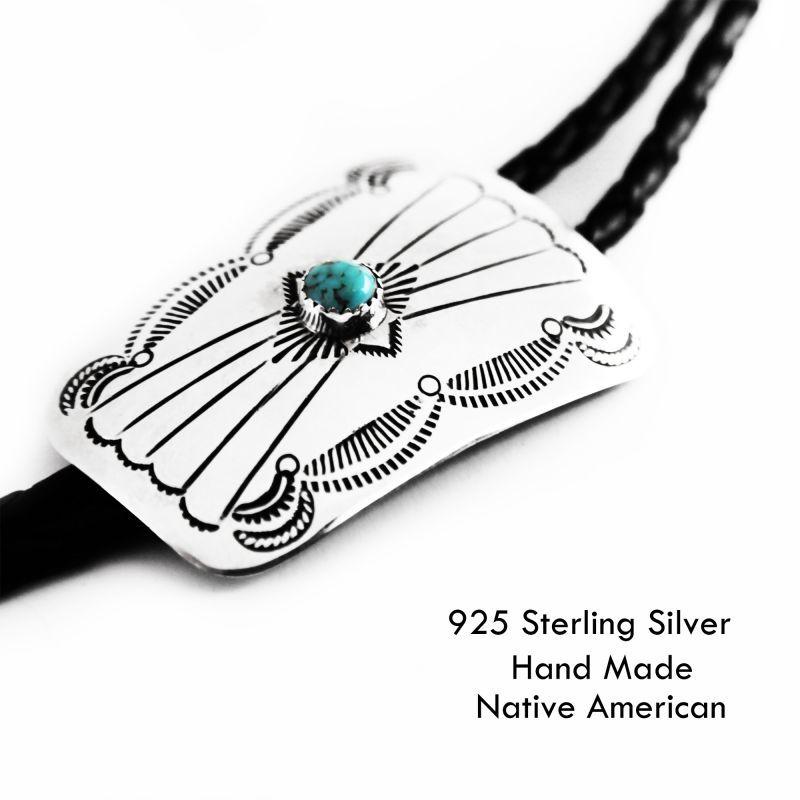 画像1: ネイティブアメリカン ナバホ族 ハンドメイド シルバー&ターコイズ ボロタイ/Navajo Sterling Silver&Turquoise Bolo Tie