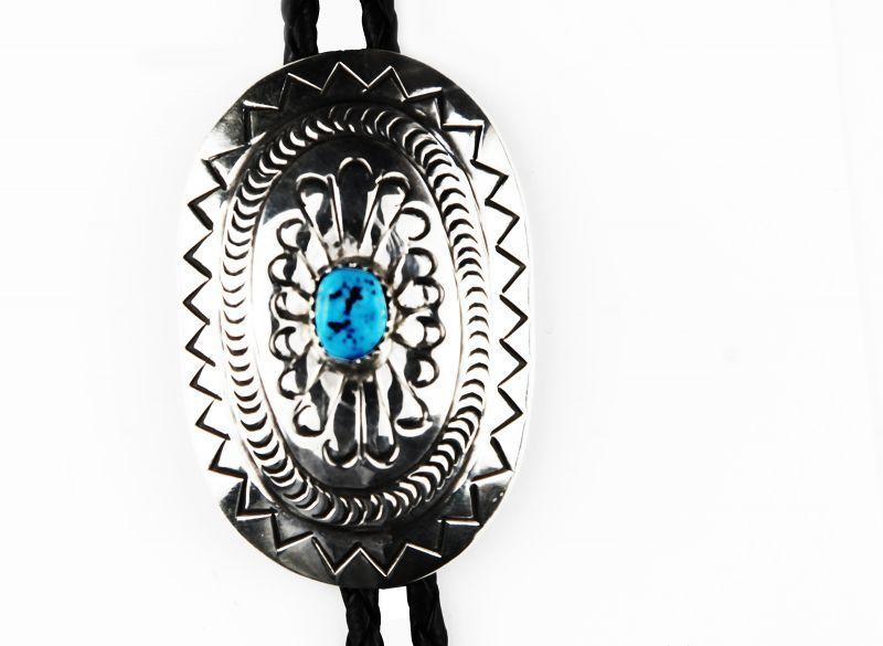 画像2: ネイティブアメリカン ナバホ族 ハンドメイド シルバー&ターコイズ ボロタイ/Navajo Sterling Silver&Turquoise Bolo Tie