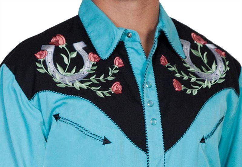 画像3: スカリー ウエスタン 刺繍 シャツ ホースシュー・ローズ(長袖/ターコイズ・ブラック)/Scully Long Sleeve Embroidered Western Shirt(Men's)