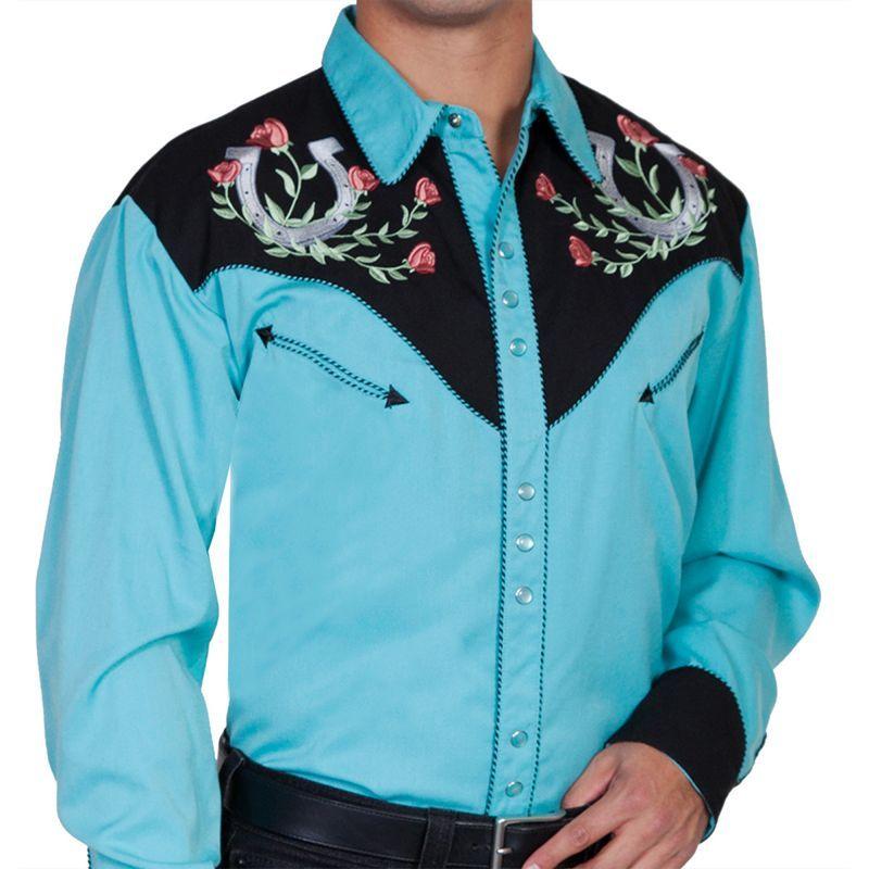 画像1: スカリー ウエスタン 刺繍 シャツ ホースシュー・ローズ(長袖/ターコイズ・ブラック)/Scully Long Sleeve Embroidered Western Shirt(Men's)