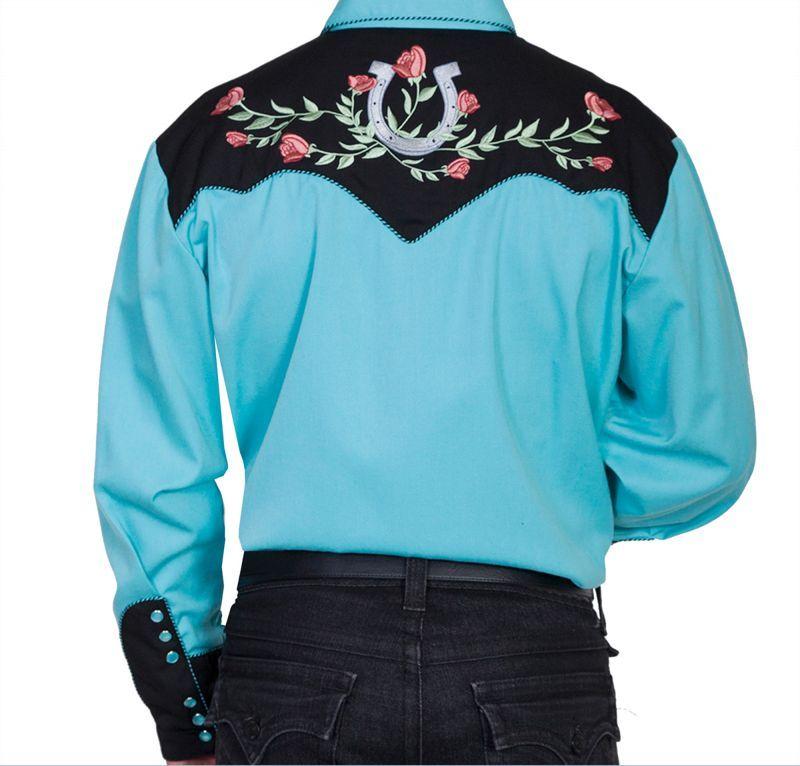 画像2: スカリー ウエスタン 刺繍 シャツ ホースシュー・ローズ(長袖/ターコイズ・ブラック)/Scully Long Sleeve Embroidered Western Shirt(Men's)
