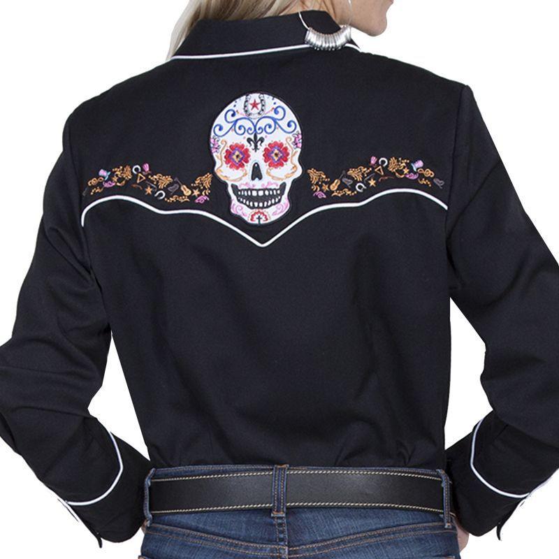 画像5: スカリー 刺繍 ウエスタン シャツ(長袖/シュガー スカル)XS/Scully Long Sleeve Western Shirt(Women's)