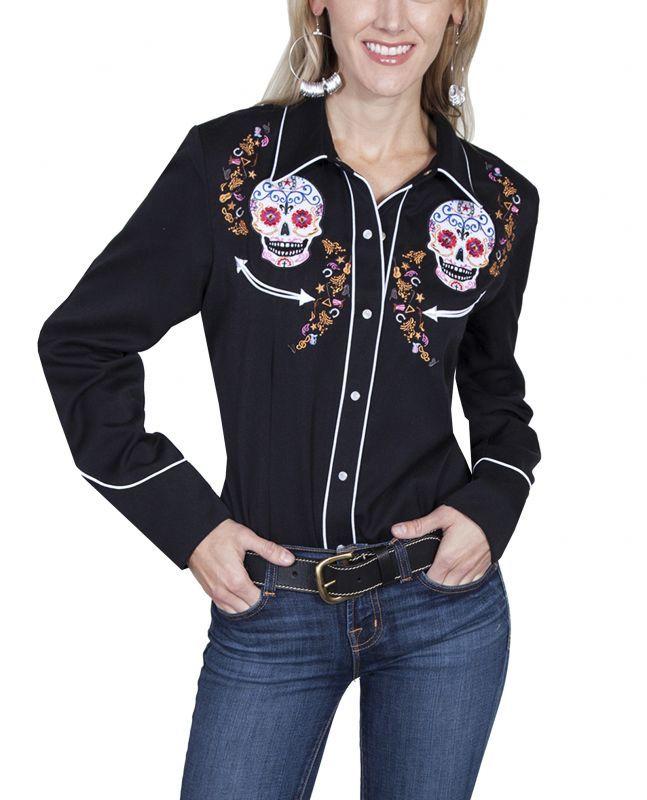 画像4: スカリー 刺繍 ウエスタン シャツ(長袖/シュガー スカル)XS/Scully Long Sleeve Western Shirt(Women's)