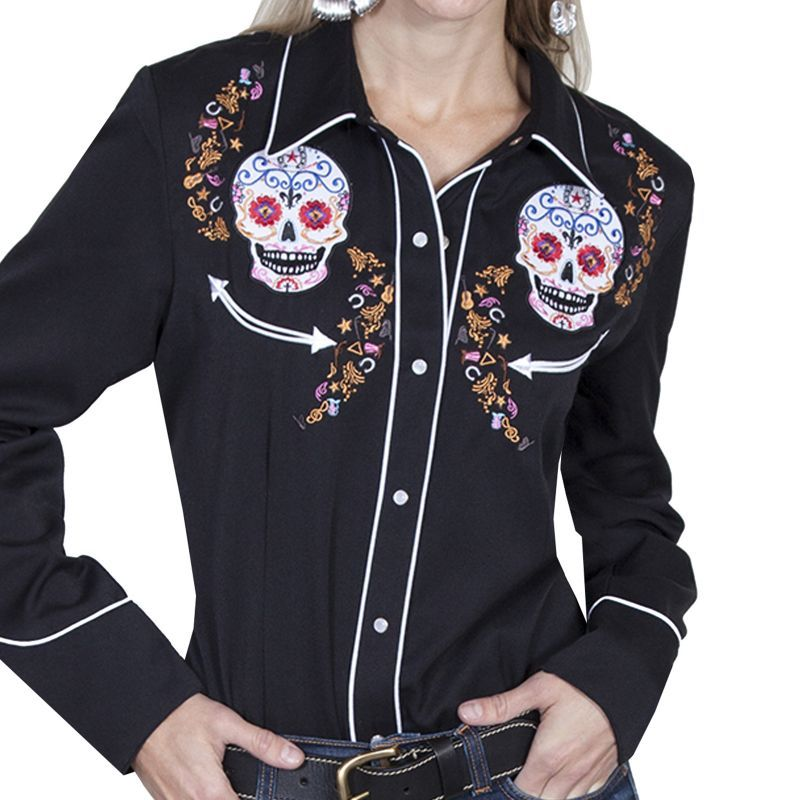 画像1: スカリー 刺繍 ウエスタン シャツ(長袖/シュガー スカル)XS/Scully Long Sleeve Western Shirt(Women's) (1)