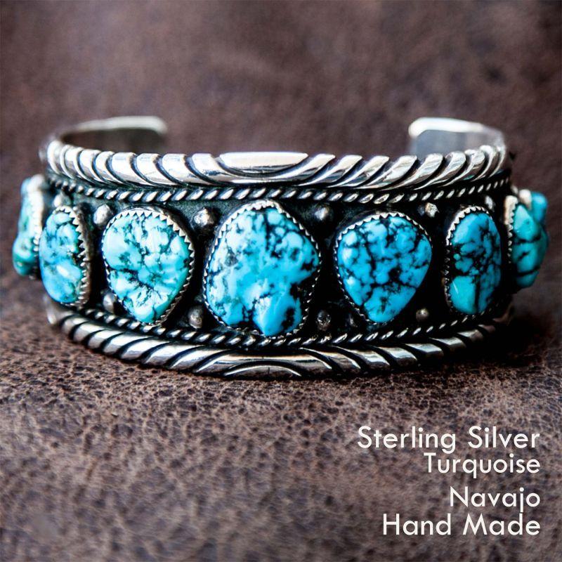 画像1: ナバホ スターリングシルバー&ターコイズ ハンドメイド ビンテージ ブレスレット ROANHORSE/Navajo Sterling Silver Turquoise Vintage Bracelet