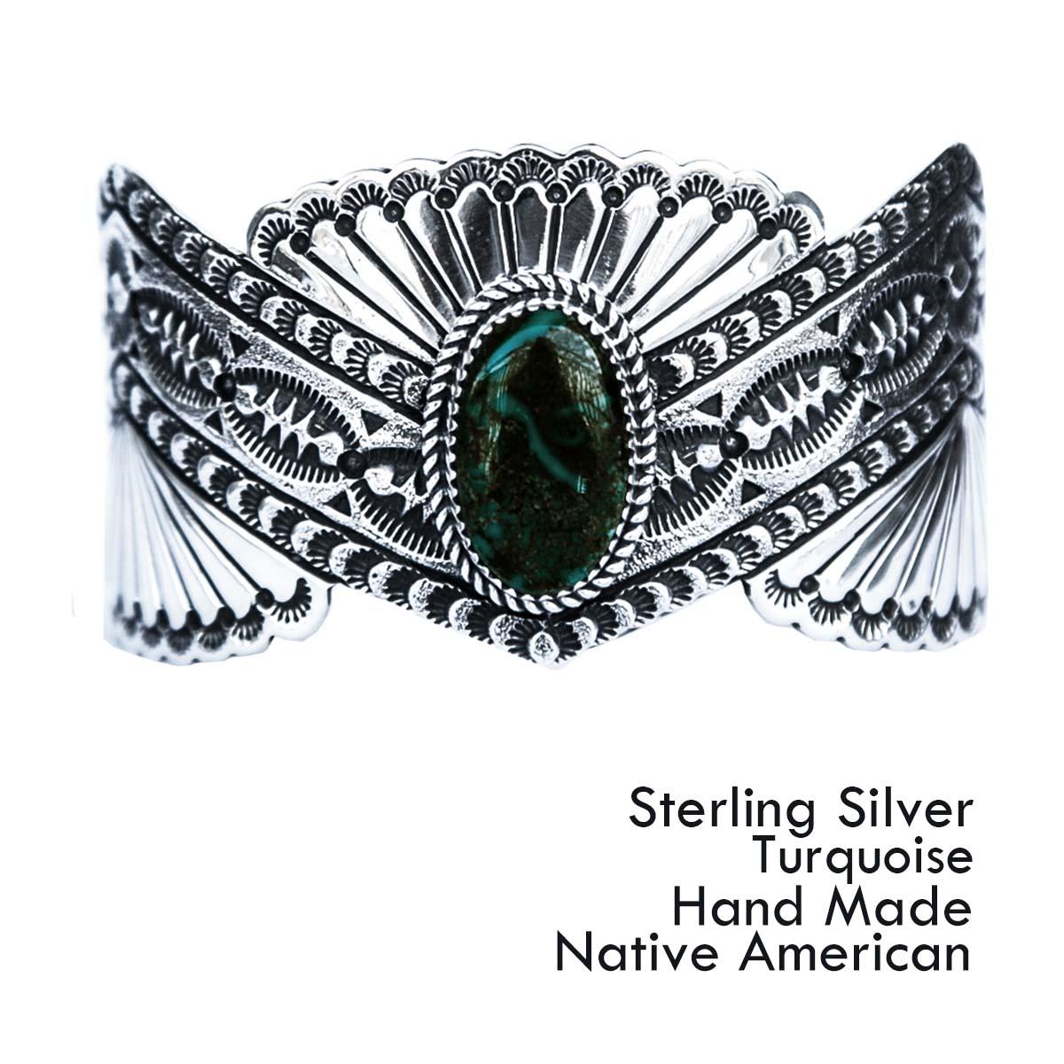 画像1: ターコイズ&スターリングシルバー ハンドメイド ブレスレット/Navajo Sterling Silver Bracelet