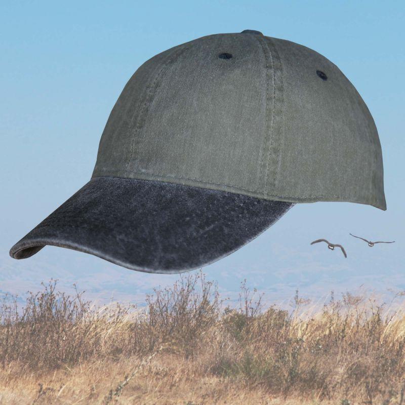 画像1: ウオッシュ コットン キャップ ブラック・オリーブ/Baseball Cap