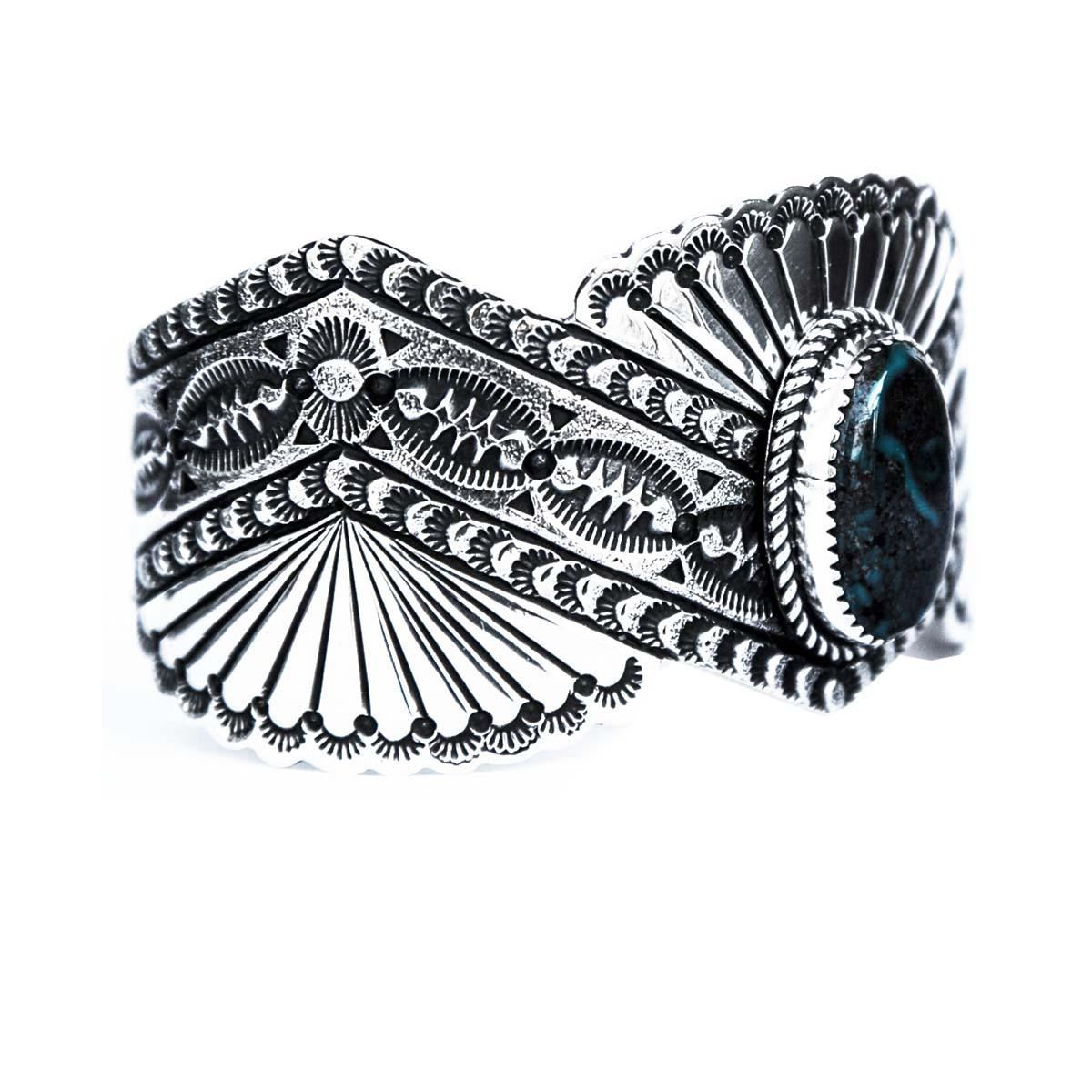 画像2: ターコイズ&スターリングシルバー ハンドメイド ブレスレット/Navajo Sterling Silver Bracelet