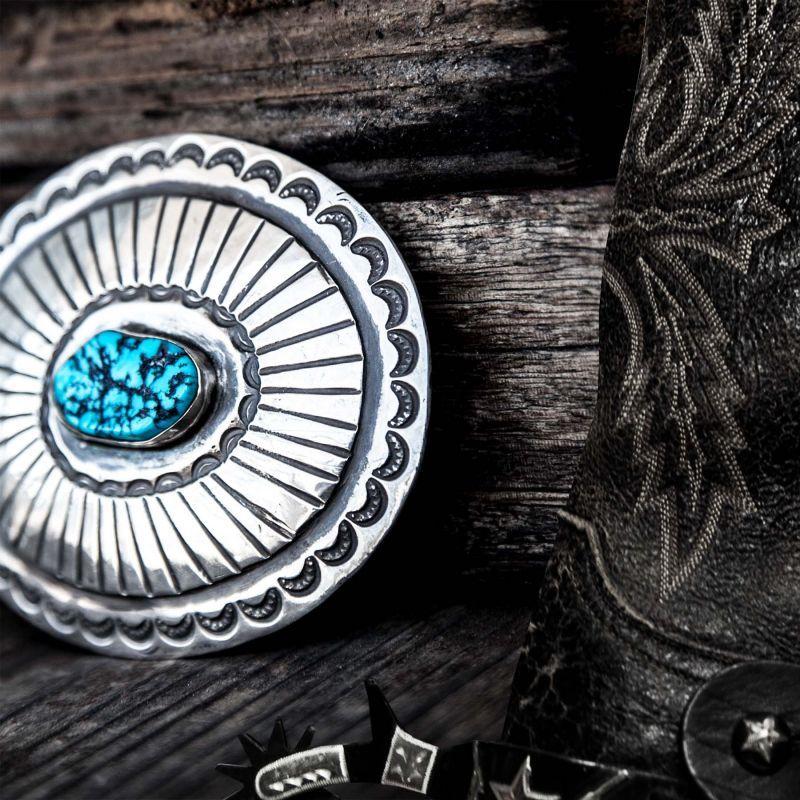 画像2: ナバホ ターコイズ&スターリングシルバー ハンドメイド ビンテージ バックル/Navajo Sterling Silver Vintage Buckle