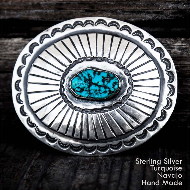 画像1: ナバホ ターコイズ&スターリングシルバー ハンドメイド ビンテージ バックル/Navajo Sterling Silver Vintage Buckle
