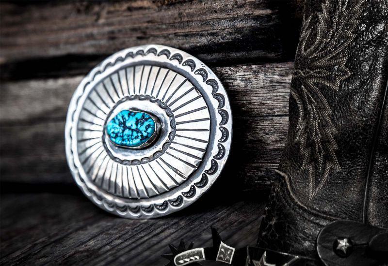 画像3: ナバホ ターコイズ&スターリングシルバー ハンドメイド ビンテージ バックル/Navajo Sterling Silver Vintage Buckle