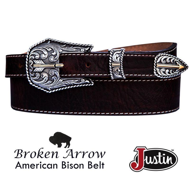 画像1: ジャスティン ブロークン アロー バッファロー ベルト(ブラウン)/Justin Broken Arrow Amercan Bison Belt(Brown)