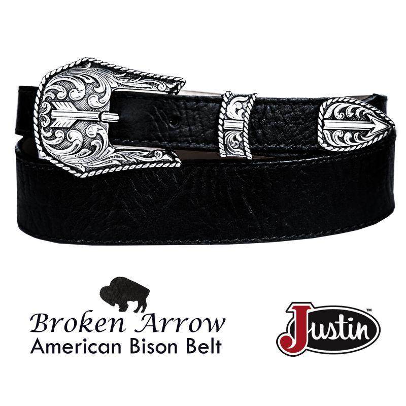 画像1: ジャスティン ブロークン アロー バッファロー ベルト(ブラック)/Justin Broken Arrow Amercan Bison Belt(Black)