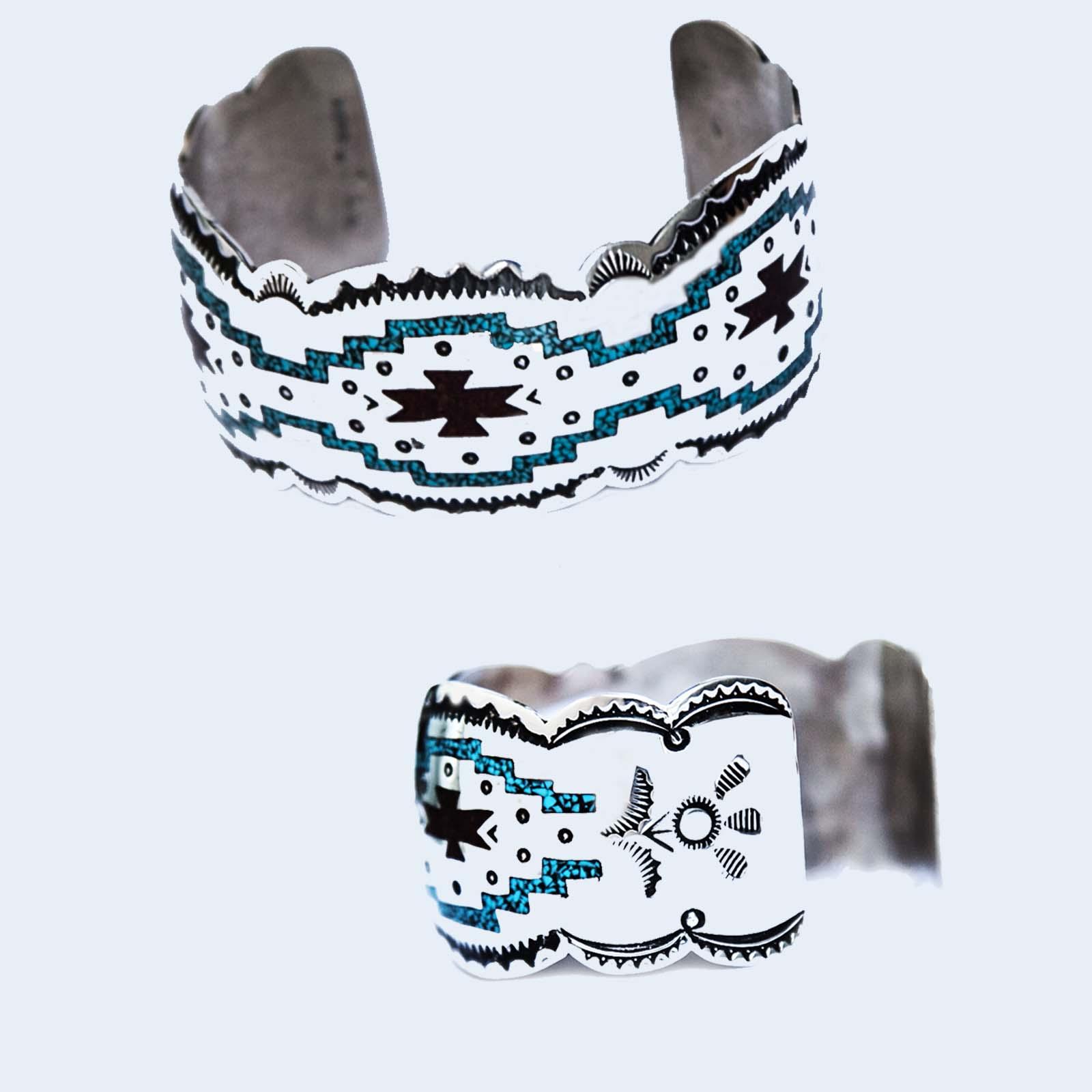 画像2: ナバホ スターリングシルバー チップインレイ ハンドメイド ブレスレット/Navajo Sterling Silver Chip  Inlay Bracelet