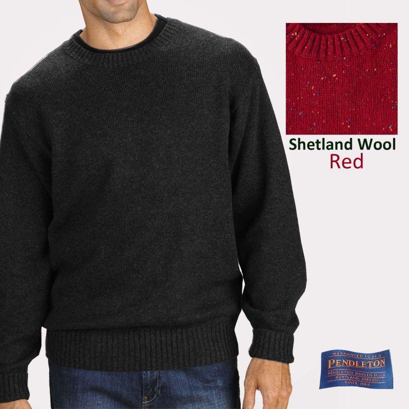 画像1: ペンドルトン シェトランド ウール セーター(レッド)S/Pendleton Shetland Wool Sweater Red