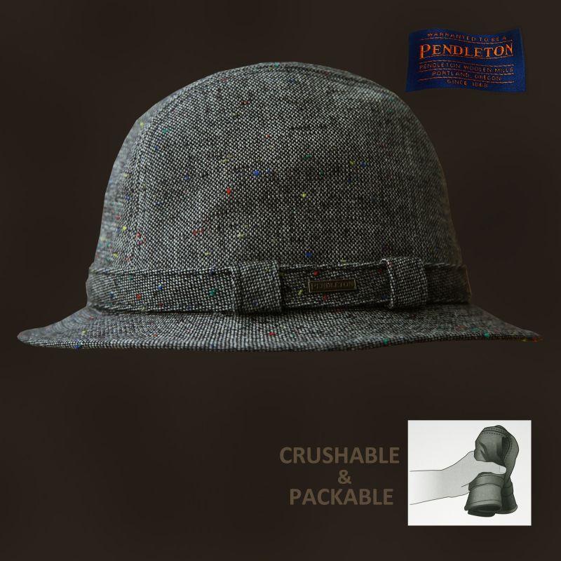 画像1: ペンドルトン クラッシャブル&パッカブル アイリッシュウォーカー ハット(グレーツイード)/Pendleton Packable Irish Walker(Grey Tweed)