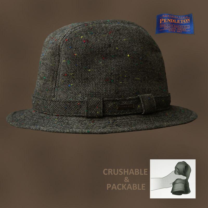 画像1: ペンドルトン クラッシャブル&パッカブル アイリッシュウォーカー ハット(ブラウンツイード)M/Pendleton Packable Irish Walker(Brown Tweed) (1)