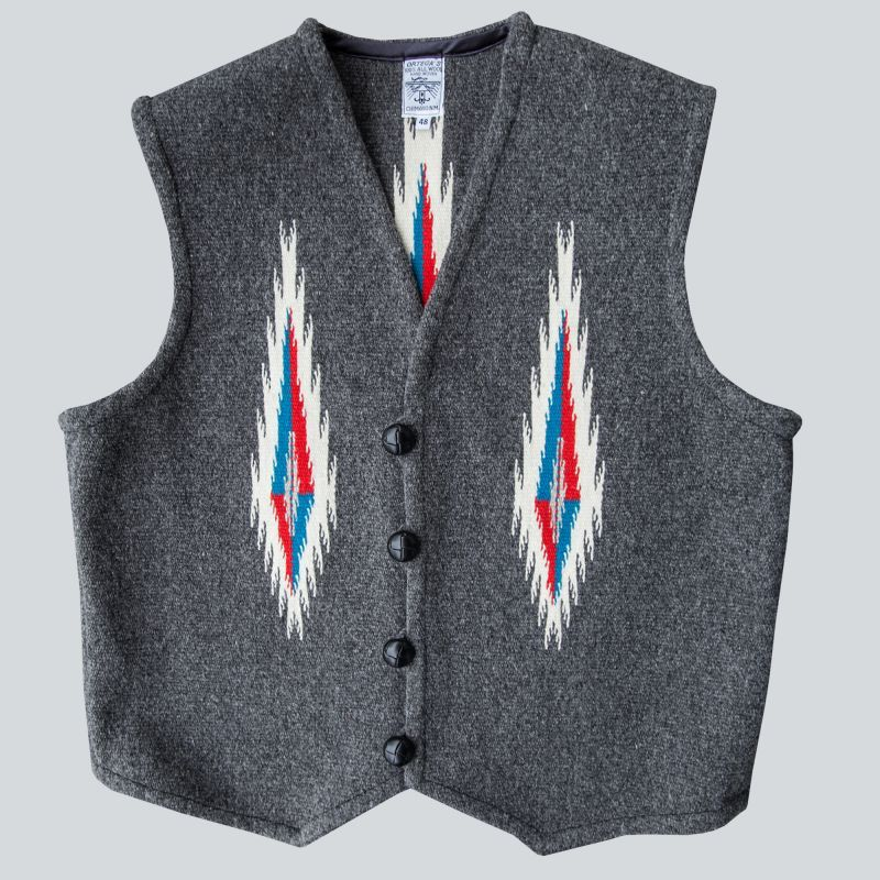 画像1: オルテガ チマヨ ベスト 48・100%ウール手織り/CHIMAYO ORTEGA'S HAND WOVEN 100% ALL WOOL VEST