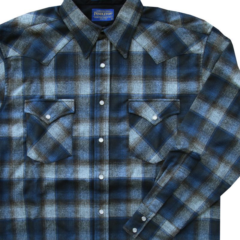 画像1: ペンドルトン ヴァ-ジンウール フィッテッド ウエスタンシャツ(ブルー グレー)/Pendleton Western Shirt